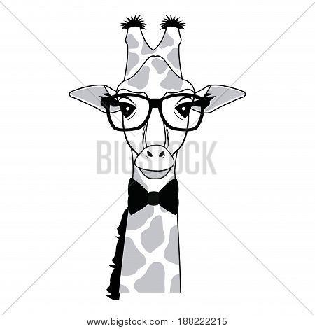 giraffe hipster animal wearing glasses fashion vector illustration