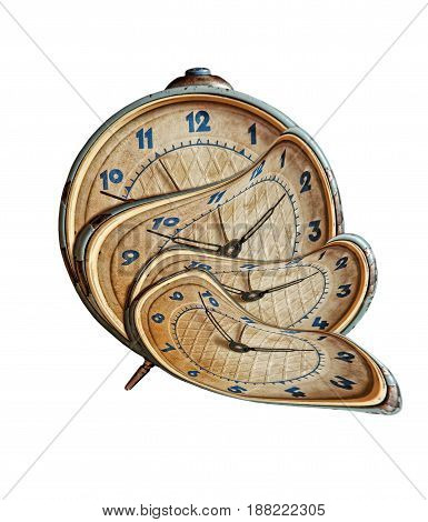 Liquid and flexible time concept.Surreal Alarm clock transforming on white background.Isolated.