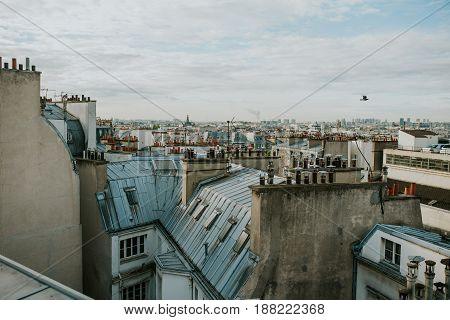 Panorama of Paris with many rooftops and chimneys
