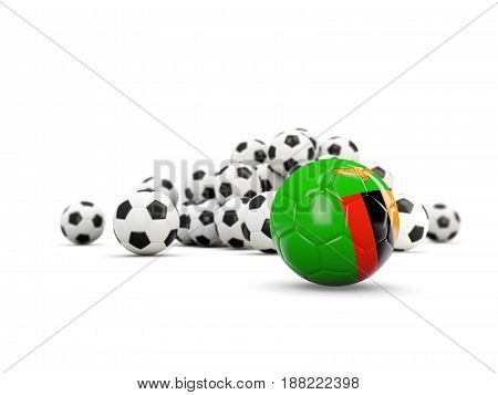Football With Flag Of Zambia Isolated On White