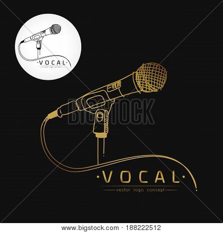 Modern linear thin flat design.Logo template for vocal or music school.Microphone stylized logo. Microphone stylized illustration. Microphone stylized emblem.Vector illustration