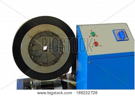 Hydraulic Rubber hose crimping machine with control panel isolated on white background.