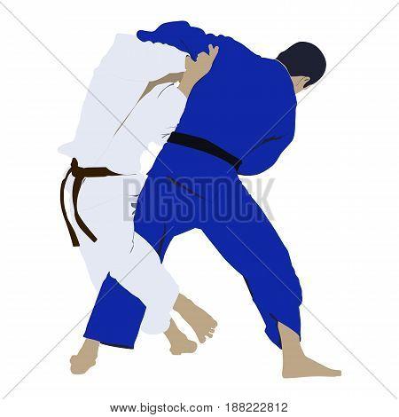 judo sport wrestling fight two judoka men