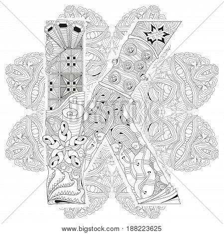 Hand-painted art design. Adult anti-stress coloring page. Black and white hand drawn illustration mandala with letter K for coloring book
