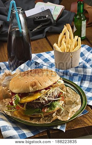 Tasty Burger With Beef And French Fries And Soda
