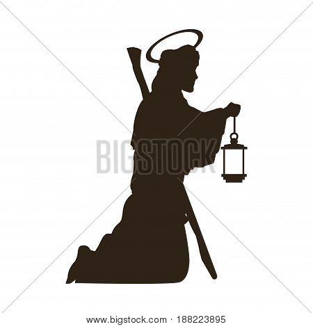saint joseph with stick silhouette holding lantern vector illustration