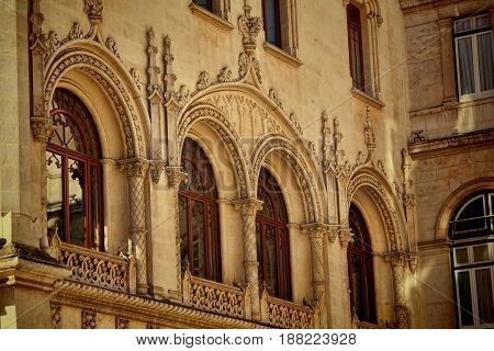 Rossio Station is Neo Manueline building in Lisbon Portugal.