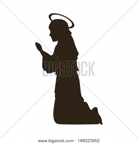 silhouette virgin mary praying on knees vector illustration