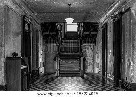 Mansfield, Ohio, USA - April 18, 2017: Dining room of the now closed Ohio State Prison. The prison was the site of the movie Shawshank Redemption and is reportedly haunted. The site is open for tours.