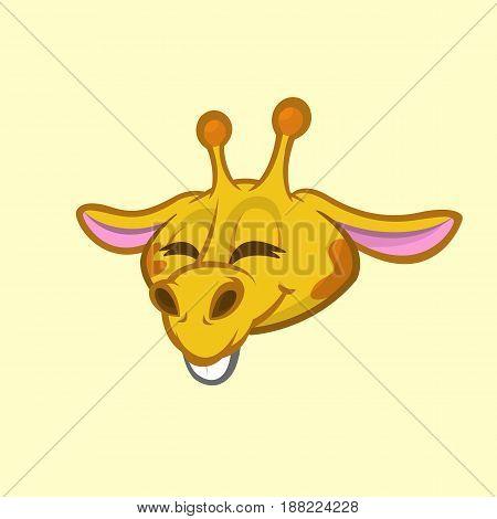 Cartoon giraffe smiling. Vector. Illustration of giraffe head icon