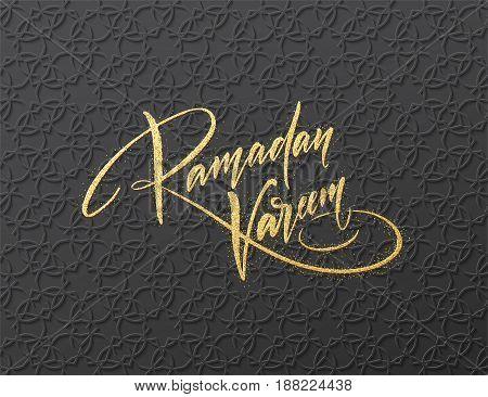 Gold glitter Lettering Ramadan Kareem on the Arabic girish seamless pattern. Background for festive design. Vector illustration EPS10
