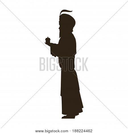 silhouette wise kings manger design vector illustration
