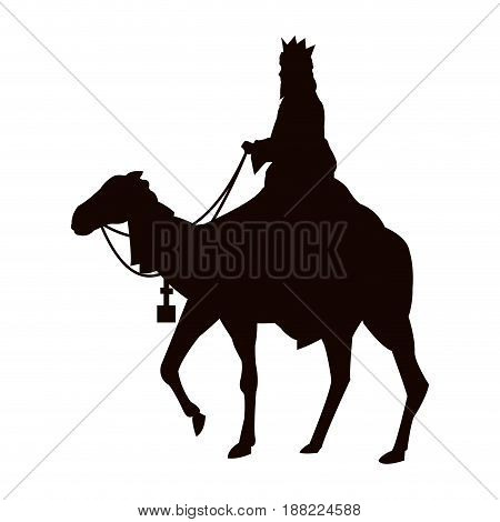 silhouette wise king traveling on camel of bethlehem vector illustration