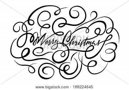 beautiful vector hand drawn lettering merry christmas