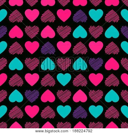 Seamless pattern. Modern Bright  design for kids girls. Abstract hearts hand drawing. Vector illustration is isolated on a black background.