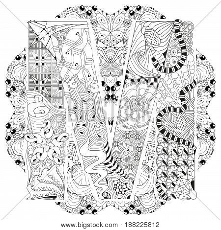 Hand-painted art design. Adult anti-stress coloring page. Black and white hand drawn illustration mandala with letter M for coloring book
