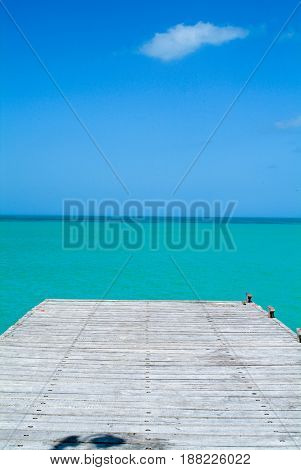 Wooden pier of Holbox Island on Mexico
