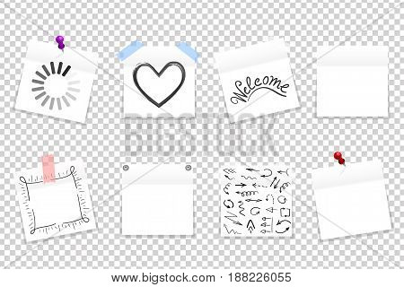Mega Pack Of White Office Paper Stickers With Shadow Isolated. Vector Illustration