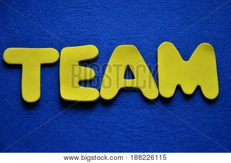 word team on a  abstract blue background