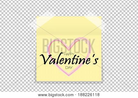 Happy Valentine's Day Design Concept On Yellow Office Paper Sticker With Shadow Isolated. Vector Ill