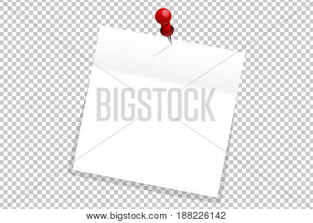 White Office Paper Sticker On Red Pin Isolated. Vector Illustration