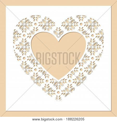 White frame with openwork heart. Laser cutting template for greeting cards envelopes wedding invitations menus interior decorative elements.