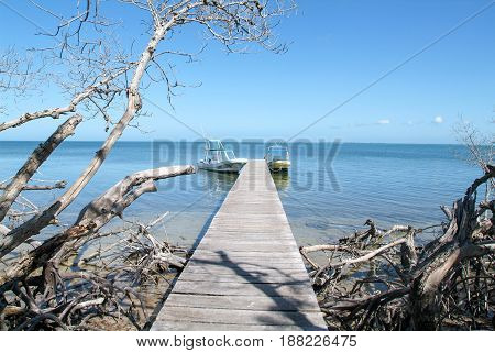 Holbox, Mexico - 28 January 2009: Wooden pier on Holbox Island on Mexico
