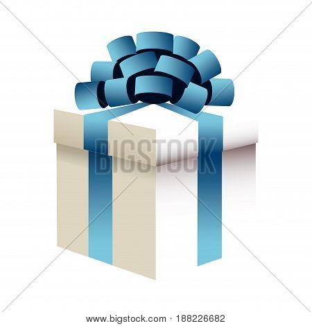 christmas gift box blue bow ribbon wrap image vector illustration