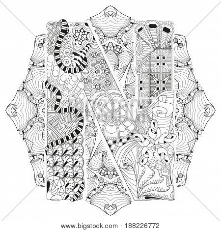 Hand-painted art design. Adult anti-stress coloring page. Black and white hand drawn illustration mandala with letter N for coloring book