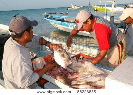 Fishermans On Them Boat At The Beach Of Holbox Island