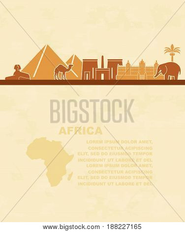 Landmarks and animals of Africa. Tourist leaflet