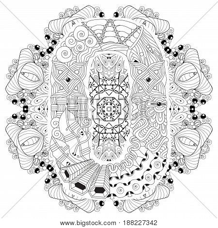 Hand-painted art design. Adult anti-stress coloring page. Black and white hand drawn illustration mandala with letter O for coloring book