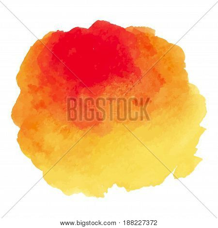 Round watercolor stains on white background, with overflow gradients of yellow and red. Smears of paints