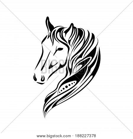 stylized hand drawn image of horse head design isolated on a white background, Vector horse head for tattoo logo illustration in linear doodle black graphic style