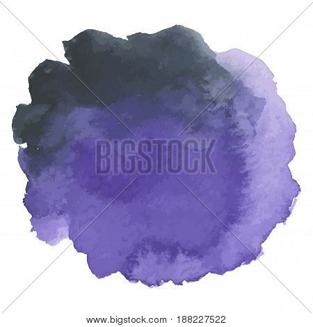 Round watercolor stains on white background, with overflow gradients of purple and dark purple. Smears of paints