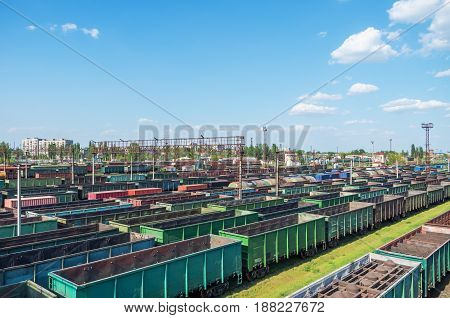 Urban junction railway yard on which sorting of freight railway trains takes place