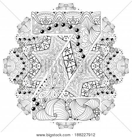 Hand-painted art design. Adult anti-stress coloring page. Black and white hand drawn illustration mandala with letter Z for coloring book