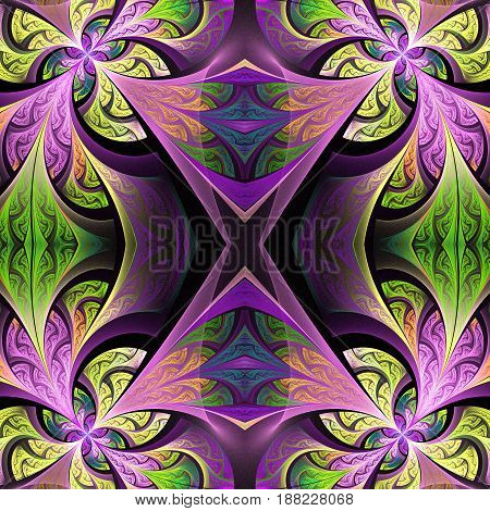 Symmetrical flower pattern in stained-glass window style. Green and purple palette. Artwork for creative design art and entertainment.