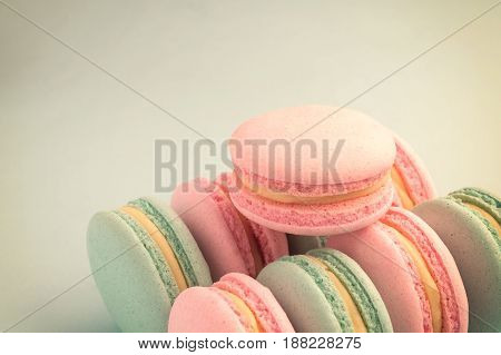 Close-up of colorful macaroons with copy space