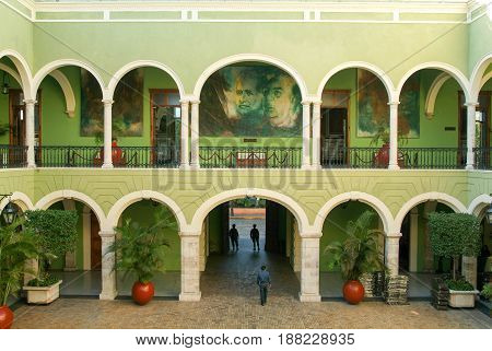 Central Dourtyard Of The Governors Building At Merida On Mexico