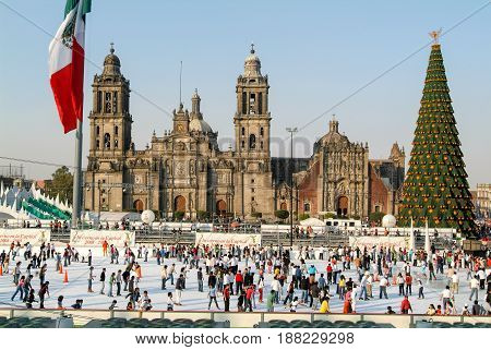 Metropolitana Cathedral On Zocalo Square At Mexico City