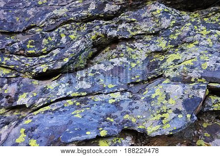 Travel to Ural mountains Russia. The colorful layered stones.
