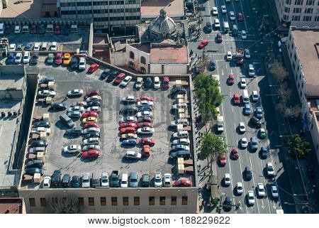 Parking Of Cars On The Roof Of A Skyscraper