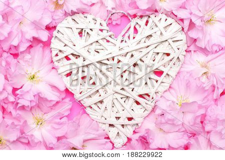 Heart In White Colour Made Of Willow Threads And Sakura