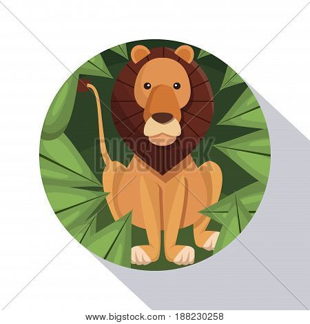 circular frame shading of poster closeup lion in the jungle vector illustration