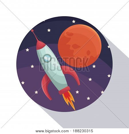 circular frame shading of poster closeup universe with rocket and planet vector illustration