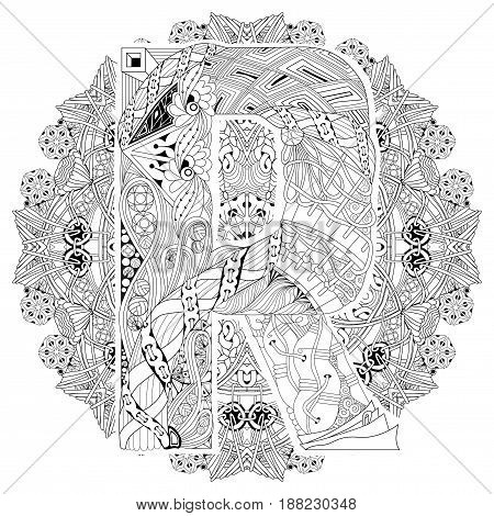Hand-painted art design. Adult anti-stress coloring page. Black and white hand drawn illustration mandala with letter R for coloring book