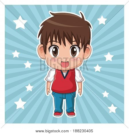 striped color background with stars and cute anime tennager expression surprise vector illustration