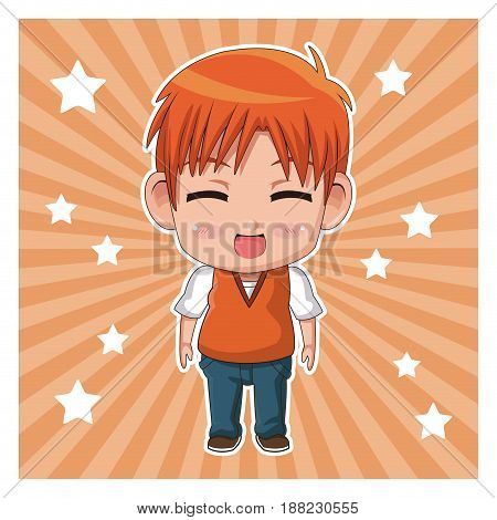 striped color background with stars and cute anime tennager facial expression laugther with eyes closed vector illustration