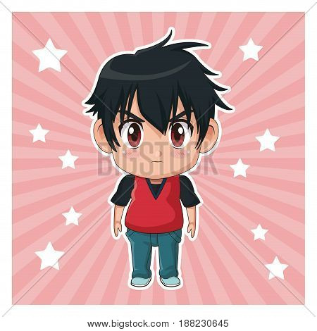 striped color background with stars and cute anime tennager facial expression angry vector illustration